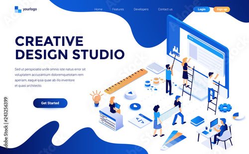 Fotografija Modern flat design isometric concept of Creative Design studio for website and mobile website