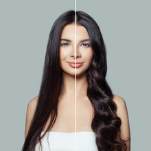 Beautiful Woman Before And After Using A Hair Ironing Or Hair Curler For Perfect Curls. Haircare And Hair Styling Concept