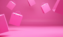 Empty Pink Shopping Bag In The Studio Lighting, Copy Space Text, Design Creative Concept For Valentine Day Sale Event. 3D Rendering Illustration.