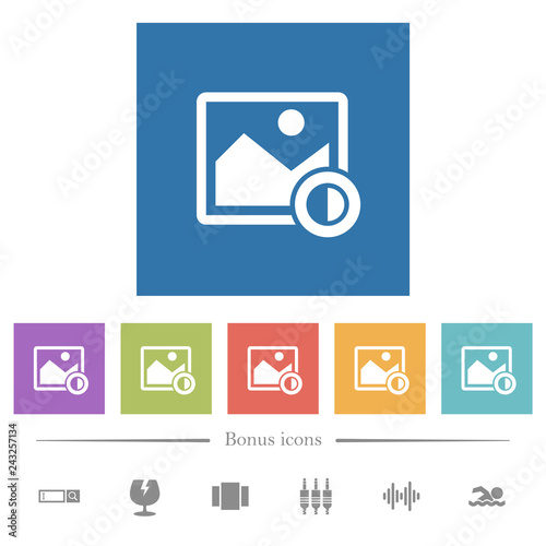 Fotografie, Obraz  Adjust image contrast flat white icons in square backgrounds