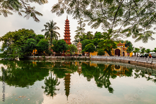 Poster Asia land Tran Quoc pagoda in the morning, the oldest temple in Hanoi, Vietnam.