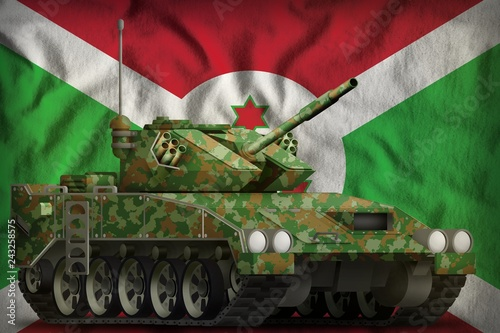 Fotografía  light tank apc with summer camouflage on the Burundi national flag background