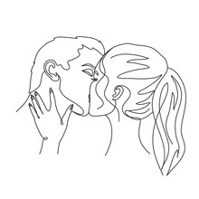 Couple In Love Kissing Vector