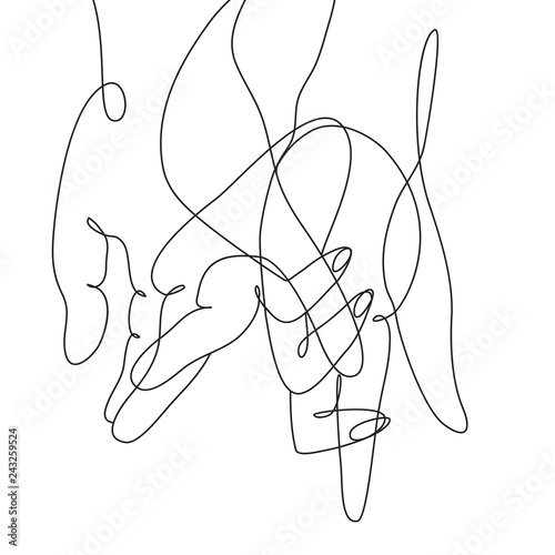 continuous line drawing of hands Wall mural