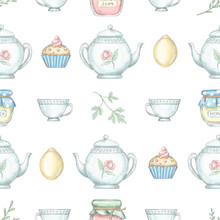 Seamless Pattern With Tea Cup,...