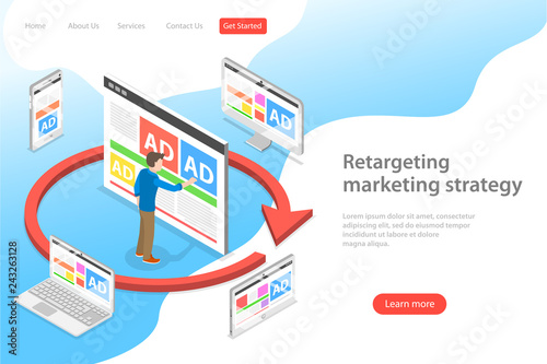 Photo  Isometric flat vector landing page template of retargeting marketing stragety, behavioural remarketing, digital promotion campaign