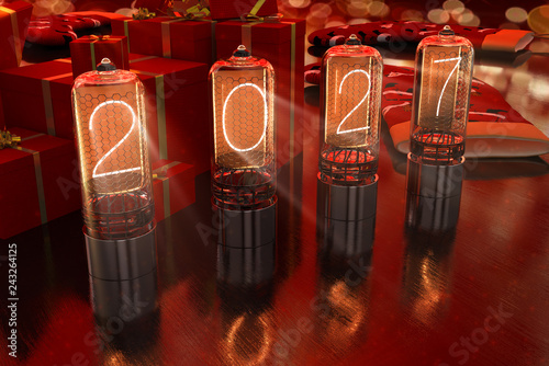 Photo  year 2027 is displayed on old television incandescent lamps on the New Year's re