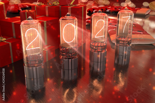 Fotografia  year 2027 is displayed on old television incandescent lamps on the New Year's re