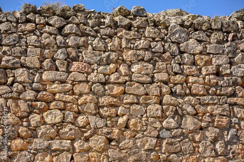 Muro de piedra con aparejo irregular, Consuegra, Toledo, España Canvas Print