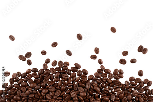 Poster Café en grains Roasted coffee beans, isolated on white background