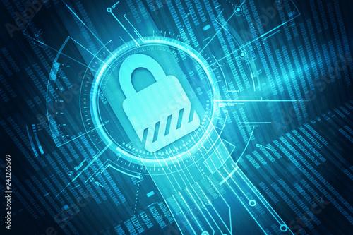 Photo  2d illustration Safety concept: Closed Padlock on digital background