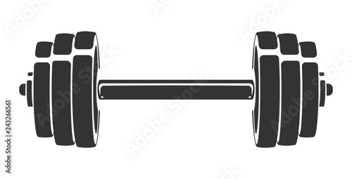 Vector hand drawn silhouette of dumbbell isolated on white background Fototapeta