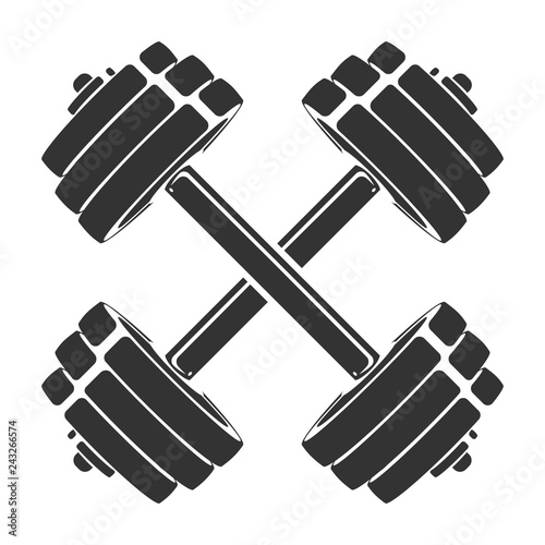 Fotografia Vector hand drawn silhouette of crossed dumbbells isolated on white background