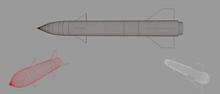 Military Missile. Vector Outline Illustration.