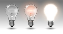 Three Transparent Light Bulbs, One Of Which Is Off, While The Others Are Lit With Different Brightness On A Light Background. Highly Realistic Illustration.