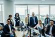 Portrait of a team of Brazilian business people in an open plan office in Sao Paulo