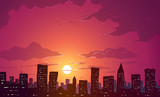 Vector illustration. Skyscrapers in big city at sunset.