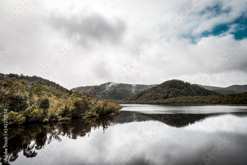 Natural reflections, mirror effect on the water in the