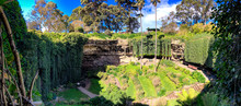 Umpherston Sinkhole Park In Mt Gambier, Australia. Panoramic View On A Sunny Day