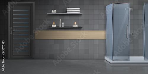 Fotomural Modern bathroom interior design realistic vector mockup with door, marble floor,