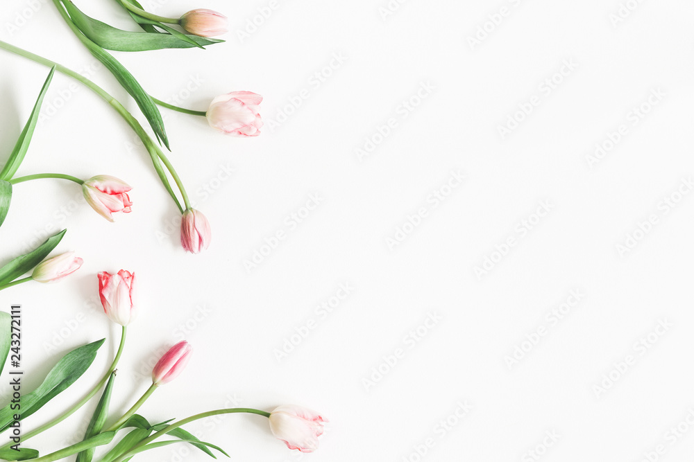 Fototapety, obrazy: Flowers composition. Pink tulip flowers on white background. Valentine's day, Mother's day concept. Flat lay, top view, copy space
