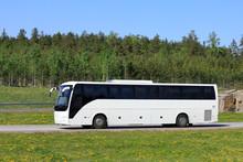 White Bus On Summer Freeway