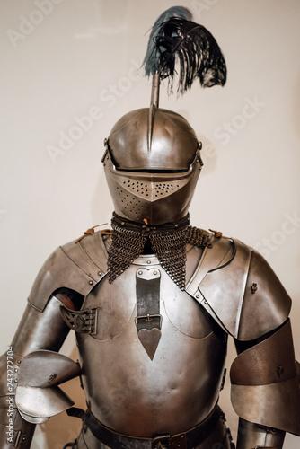 Knight in shining armor. Detail metal helmets. Medieval warrior Canvas Print