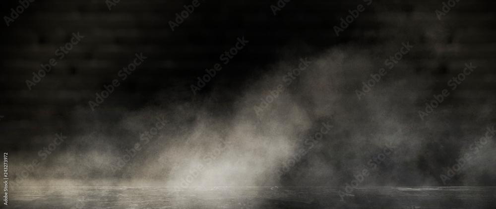 Fototapety, obrazy: Background of an empty dark room, smoke and dust.