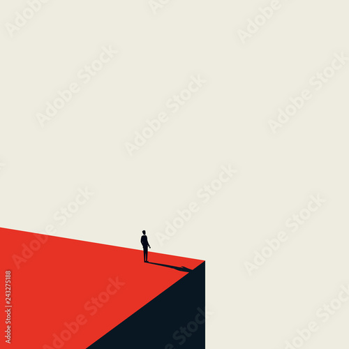 Obraz Business vision and opportunity vector concept in minimalist art style. Businessman standing on the edge of cliff looking ahead. Symbol of future, career opportunity, success. - fototapety do salonu
