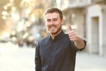 Happy Man In The Street Gestur...