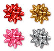 Bow set collection Vector realistic. Shiny Colorful red, silver, golden. Decor wrapping element. 3d detailed illustrations