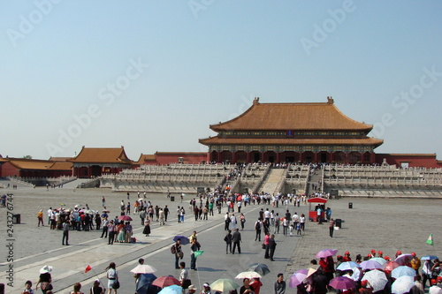 Photo Stands Beijing The embodiment of oriental culture in ancient Chinese buildings is holding back the view of each spectator.