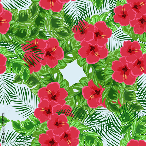 Exotic seamless pattern with tropical flowers and leaves. Banana leaves and hibiscus flower. Floral background with exotic leaves and flowers.