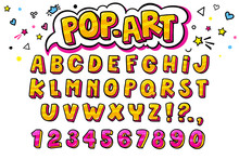 Comic Retro Letters Set. Alphabet Letters And Numbers In Style Of Comics