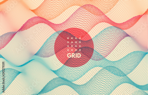 Wavy grid background for banner, flyer, book cover, poster.Dynamic effect. 3d abstract vector illustration with dots.
