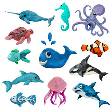 Colorful Plasticine 3D Sea Animals  Icons Set Isolated On White Background