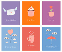 Set Of Cute Valentines Day Cards With Umbrella, Balloon, Mug, Cupcake, Flower Pot, Love Letter, Text. Hand Drawn Vector Illustration. Scandinavian Style Flat Design. Concept For Children Print.