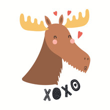Hand Drawn Valentines Day Card With Cute Funny Moose, Hearts, Text XOXO. Isolated Objects On White Background. Vector Illustration. Scandinavian Style Flat Design. Concept For Children Print.