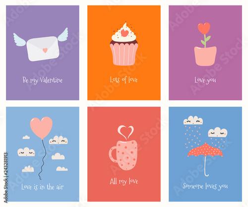 Fototapeta Set of cute Valentines day cards with umbrella, balloon, mug, cupcake, flower pot, love letter, text