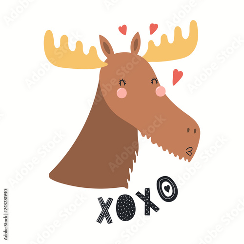 Fotografie, Obraz Hand drawn Valentines day card with cute funny moose, hearts, text XOXO