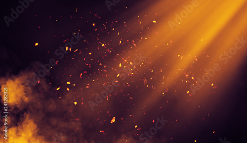 Spotlight lighting on background. Smoke with embers parrticles texture overlays .