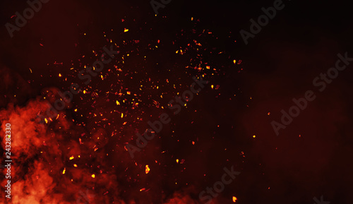 Foto Smoke with embers parrticles texture overlays .