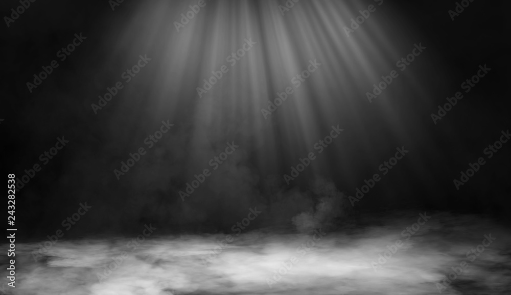 Fototapety, obrazy: Dry ice smoke clouds fog floor texture. . Perfect spotlight mist effect on isolated black background.