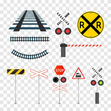 Railway Signs Set Isolated On ...