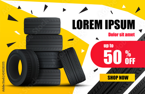 Cuadros en Lienzo Tire car sale banner. Car wheels and tires sale poster. Vector