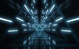 Fototapeta Fototapety do przedpokoju - Abstract illuminated empty corridor interior design, Future concept. 3D rendering.