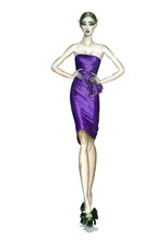 Fashion Illustration From A Show Of A Model In Short Purple Dress