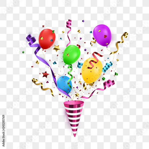 Fototapeta Confetti background with Party poppers and air balloons isolated. Birthday background. Vector illustration obraz na płótnie