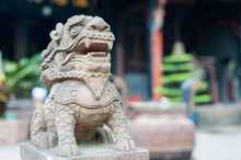 Lion Stone Statue In A Buddhist Temple, Chengdu, China