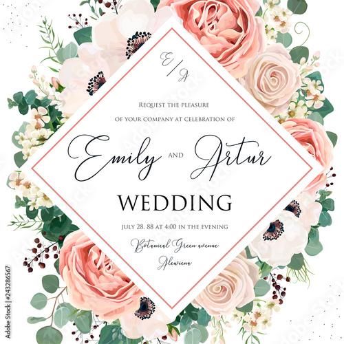 Fototapeta Floral Wedding Invitation Elegant Invite Card Vector Design Garden Flower Pink Lavender Rose White Wax Dusty Blush Anemone Silver Green